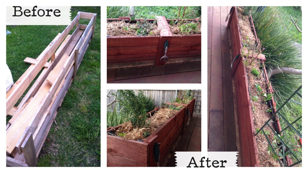 before after pallet garden